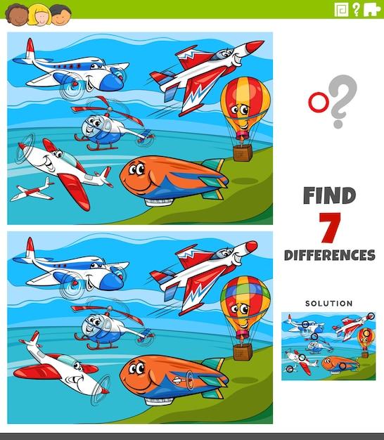 Jogo educativo de diferenças para crianças com aviões e máquinas voadoras Vetor Premium
