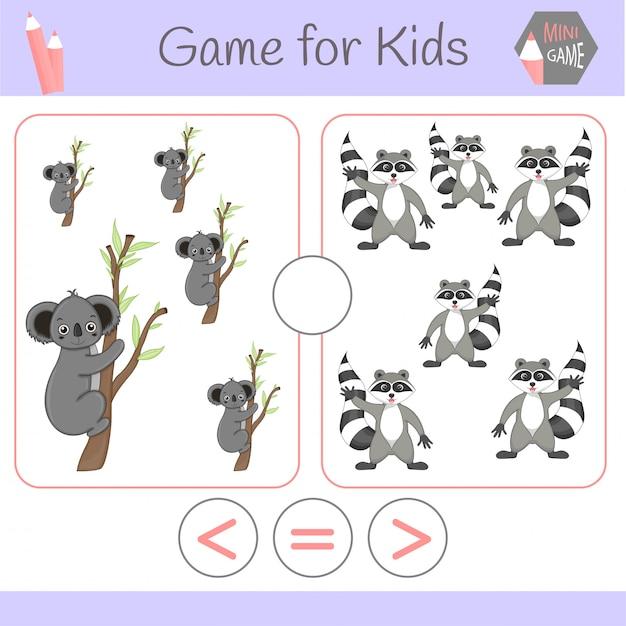Jogo educativo de lógica para crianças pré-escolares. robôs engraçados dos desenhos animados. escolha a resposta correta. maior que, menor que ou igual a Vetor Premium