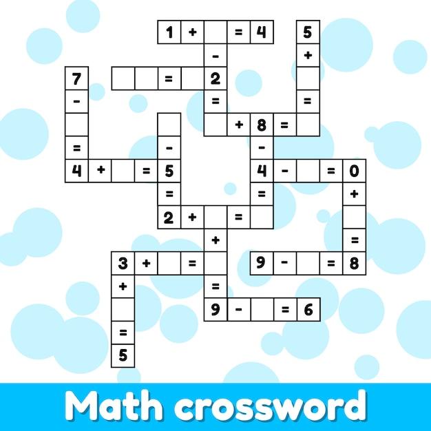 Jogo educativo de matemática para crianças em idade pré-escolar e escolar. Vetor Premium