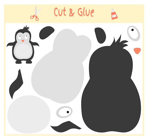 Jogo educativo em papel para o desenvolvimento de crianças pré-escolares. corte partes da imagem e cole no papel. Vetor Premium