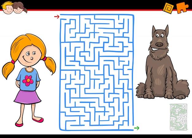 Jogo educativo labirinto para crianças com menina e cachorro Vetor Premium