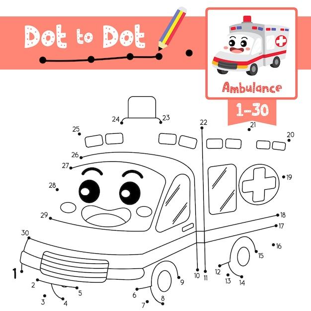 Jogo educativo ponto a ponto e livro de colorir ambulância personagem de desenho animado em perspectiva ver ilustração Vetor Premium