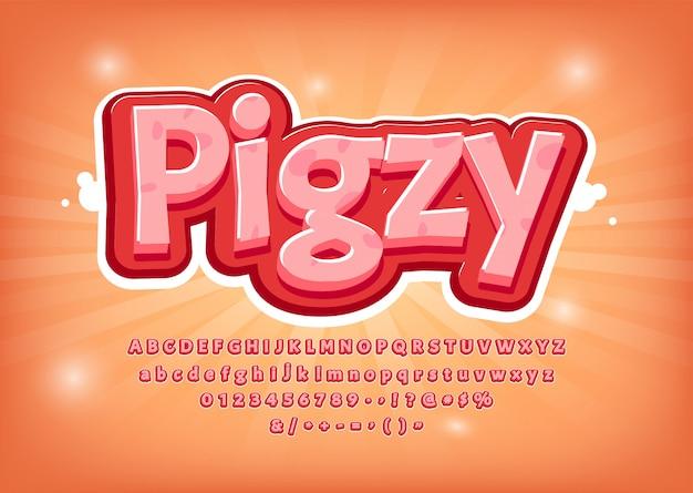 Jogo engraçado, fonte de porco, título de estilo cômico, efeito de texto, alfabeto-de-rosa. números, símbolos Vetor Premium