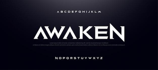 Jogo esporte filme alfabeto font. tipografia moderna Vetor Premium