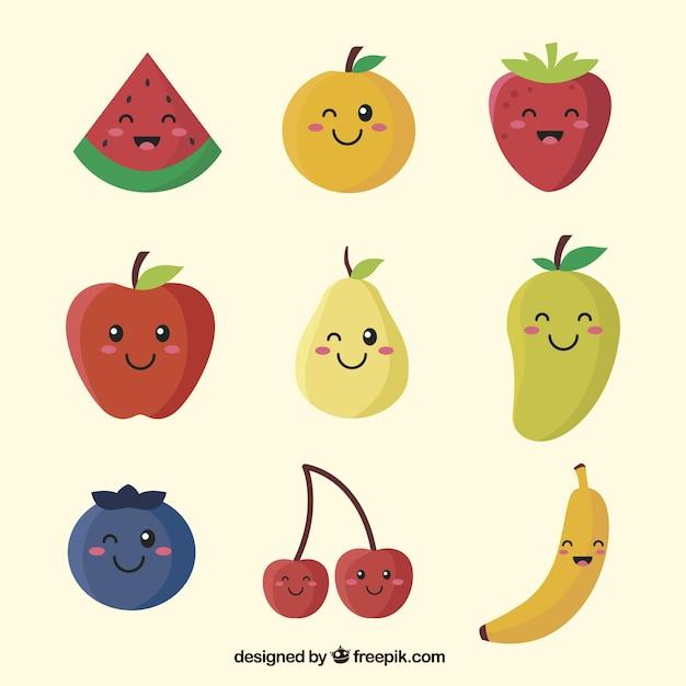 Jogo, fruta, personagens, variedade, facial, expressões Vetor grátis