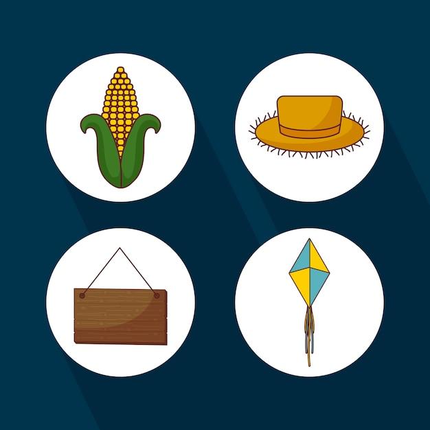 Jogo, ícones, para, festa, junina, celebração Vetor Premium