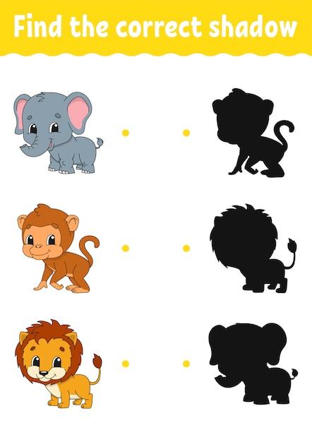 Jogo infantil com animais Vetor Premium