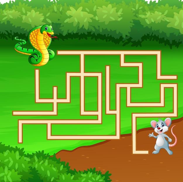 Jogo labirinto cobra encontrar caminho para o mouse Vetor Premium