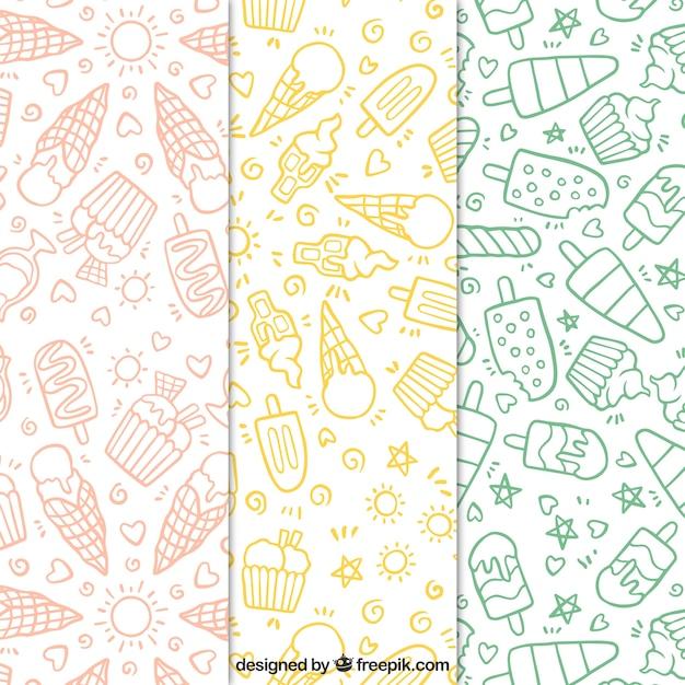 Jogo, mão, desenhado, gelo, creme, padrões Vetor grátis