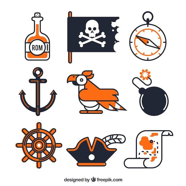 Jogo, papagaio, linear, pirata, elementos Vetor grátis