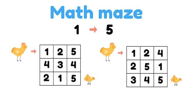 Jogo para crianças em idade pré-escolar. labirinto matemático. ajude o frango a encontrar o filhote. Vetor Premium