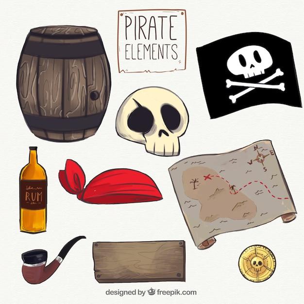 Jogo, pirata, mão, desenhado, elementos Vetor grátis