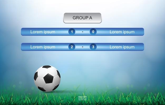 Jogo plano de fundo do copo de futebol de futebol com luz turva bokeh de fundo. Vetor Premium