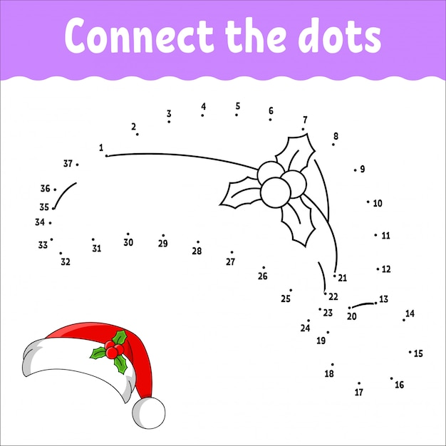 Jogo ponto a ponto. desenhe uma linha. chapéu de pele de papai noel com holly. para as crianças planilha de atividades. Vetor Premium