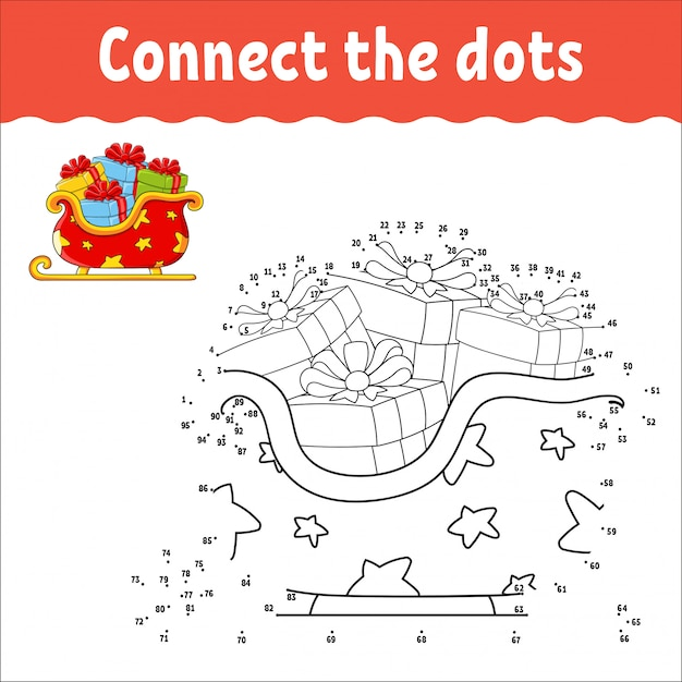 Jogo ponto a ponto. desenhe uma linha. trenó de natal papai noel com presentes. para as crianças Vetor Premium