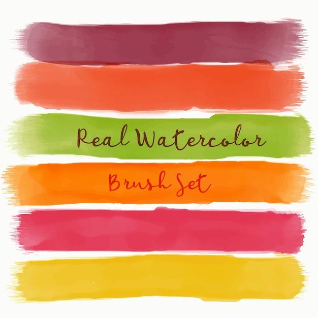 Jogo, real, aquarela, escova, morno, cores Vetor grátis