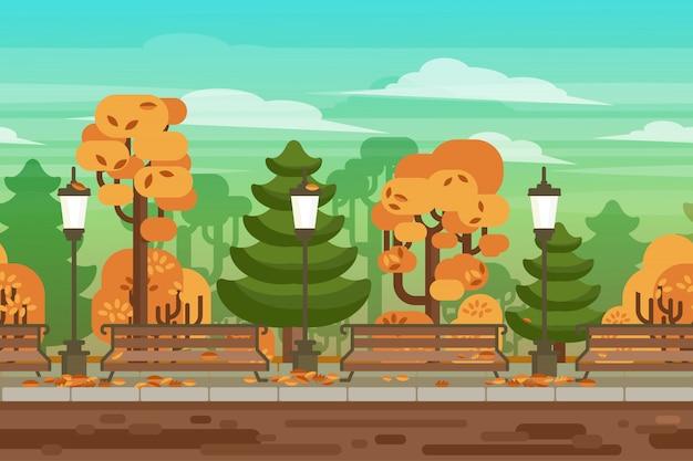 Jogo sem costura outono paisagem parque fundo Vetor grátis