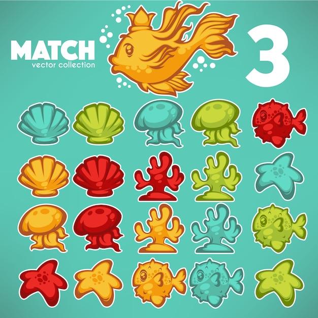 Jogo subaquático, jogo 3, elementos de desenho vetorial Vetor Premium