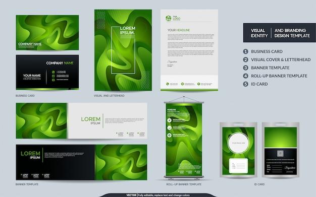 Jogo verde moderno dos artigos de papelaria e identidade de marca visual com forma abstrata colorida do fundo dinâmico. Vetor Premium