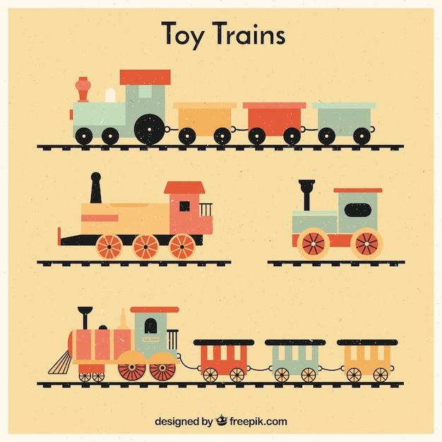 Jogo, vindima, brinquedo, trens Vetor grátis