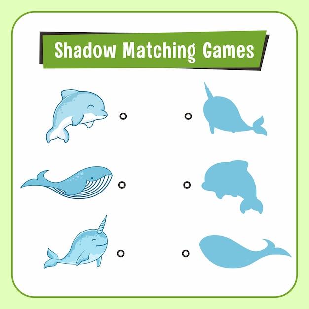 Jogos de combinar sombra animais dolphin narwhal whale Vetor Premium