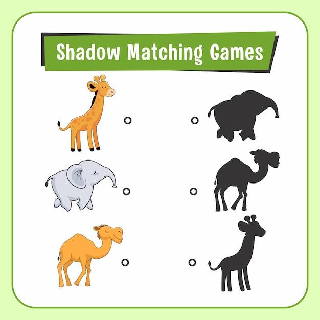 Jogos de combinar sombra animais girafa elefante camelo Vetor Premium