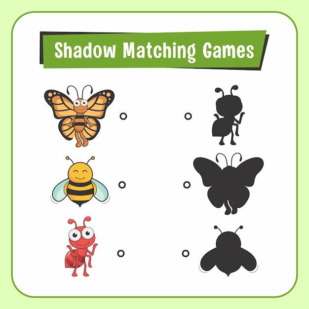 Jogos de combinar sombra animais inseto borboleta abelha formiga Vetor Premium