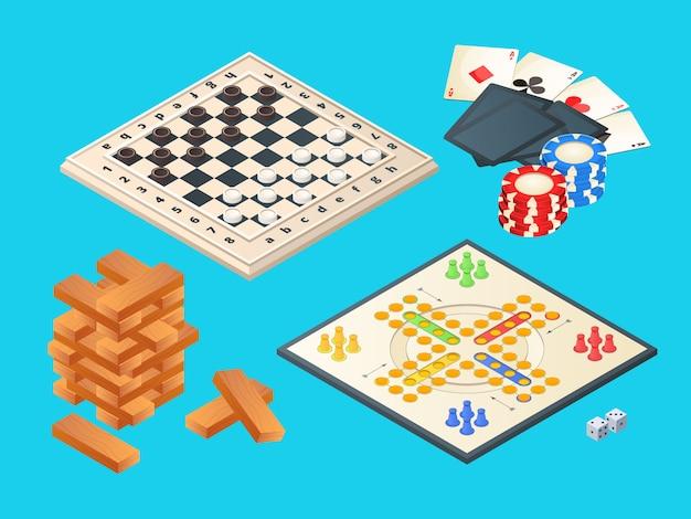 Jogos de tabuleiro, isométricos de vários jogos de tabuleiro Vetor Premium