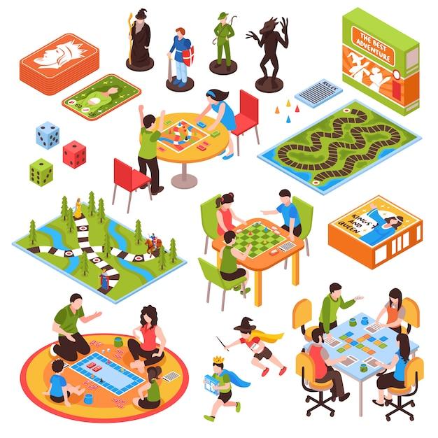 Jogos de tabuleiro pessoas conjunto isométrico Vetor grátis