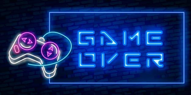 Jogos, texto sobre neon com controlador Vetor Premium