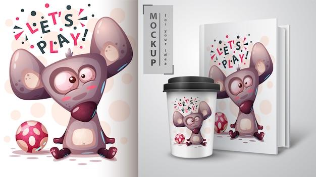 Jogue mouse, rato e merchandising Vetor Premium