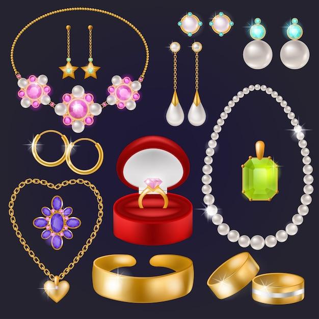 Jóias vector jóias pulseira de ouro colar brincos e anéis de prata com diamantes definir ilustração de acessórios de joia da mulher isolados Vetor Premium