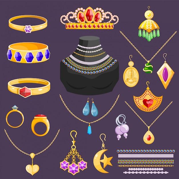 Jóias vetor jóias pulseira de ouro brincos de colar e anéis de prata com diamantes acessórios de jóias Vetor Premium