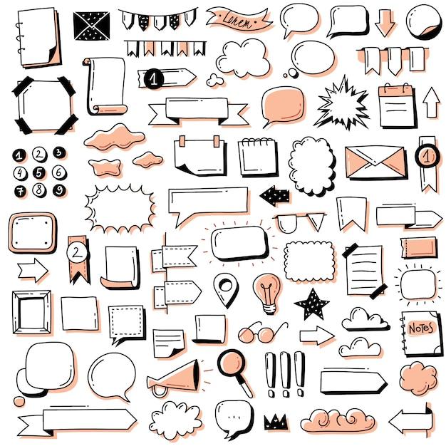 Jornal de bala doodle conjunto de bandeiras. mão desenhada doodles bullet journal banners e elementos para notebook, diário e planejador Vetor Premium
