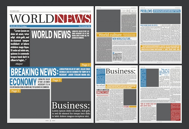 Jornal manchetes modelo realista cartaz Vetor grátis