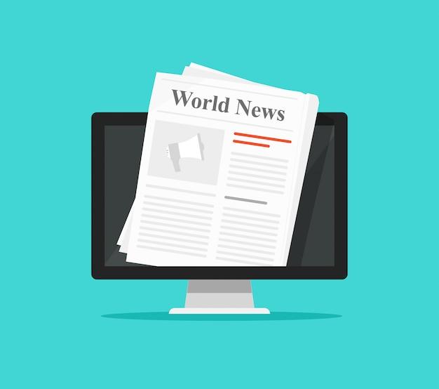 Jornal na ilustração de tela de computador Vetor Premium