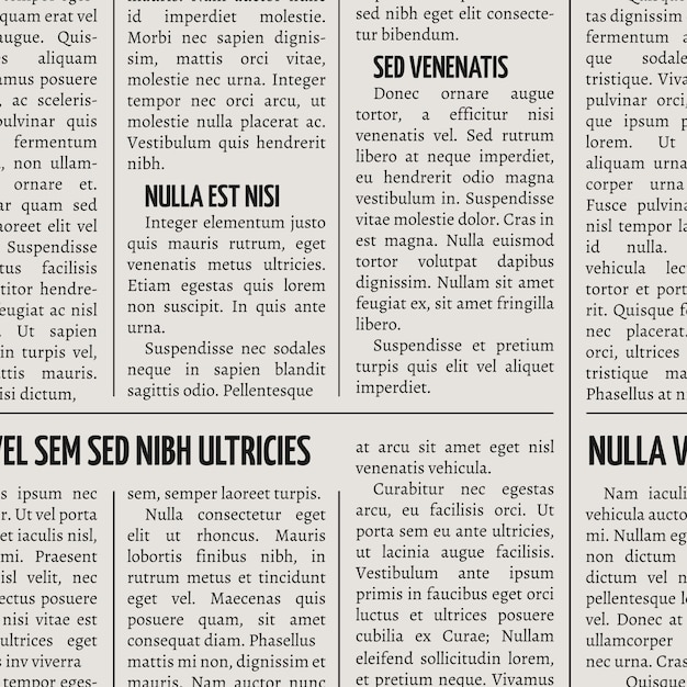 Jornal vintage imprimir vetor sem costura padrão Vetor Premium