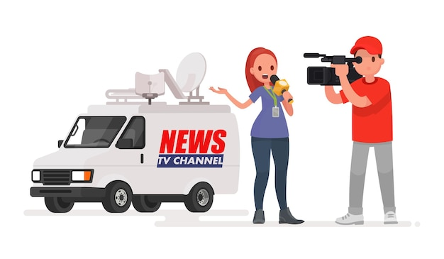 Jornalista realiza reportagem da cena dos acontecimentos. correspondente de profissão e cinegrafista. carro do canal de notícias. em um estilo simples Vetor Premium