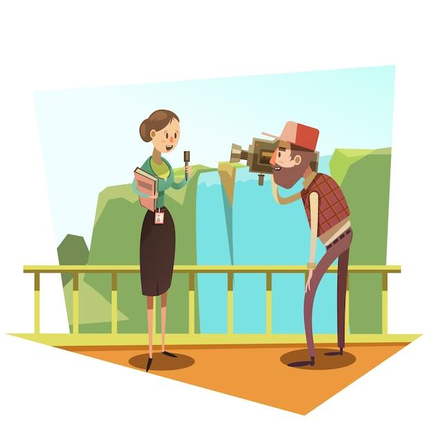 Jornalista retrô dos desenhos animados Vetor grátis