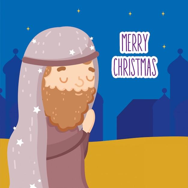 Joseph abençoado que reza a manjedoura natividade, feliz natal Vetor Premium