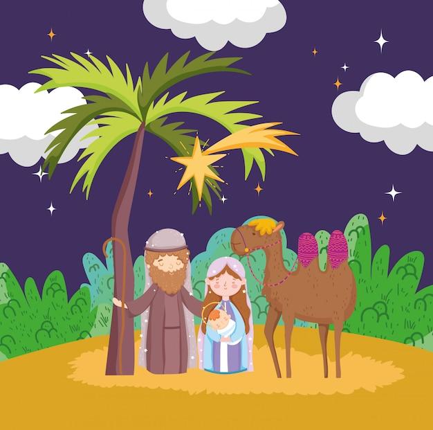 Joseph mary bebê jesus e noite de camelo deserto manjedoura natividade, feliz natal Vetor Premium
