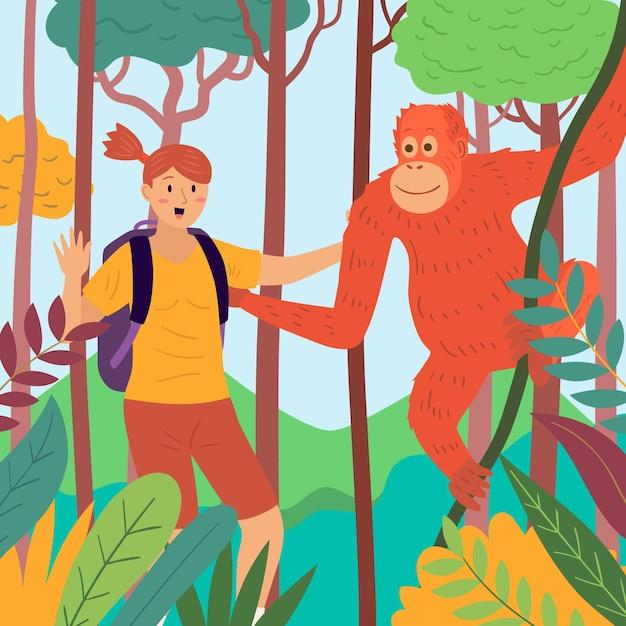Jovem acariciando um macaco Vetor grátis