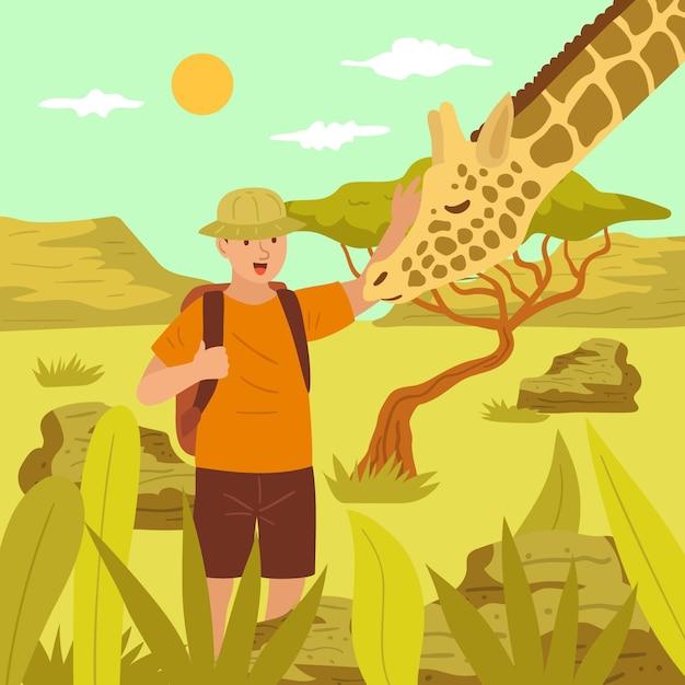 Jovem acariciando uma girafa Vetor grátis