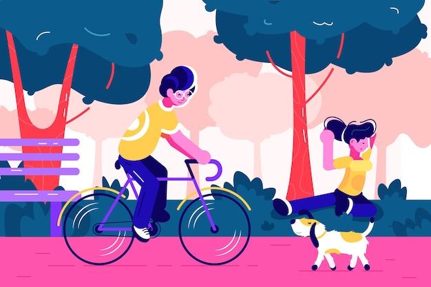 Jovem andando de bicicleta no parque urbano da cidade com árvores verdes, banco. Vetor Premium