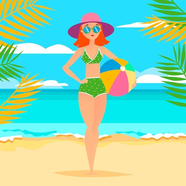Jovem, atlético, menina, com, bola praia Vetor Premium