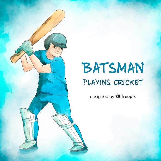 Jovem batedor jogando críquete em estilo aquarela Vetor grátis