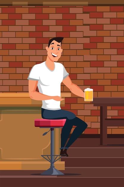 Jovem bebendo cerveja em bar Vetor Premium
