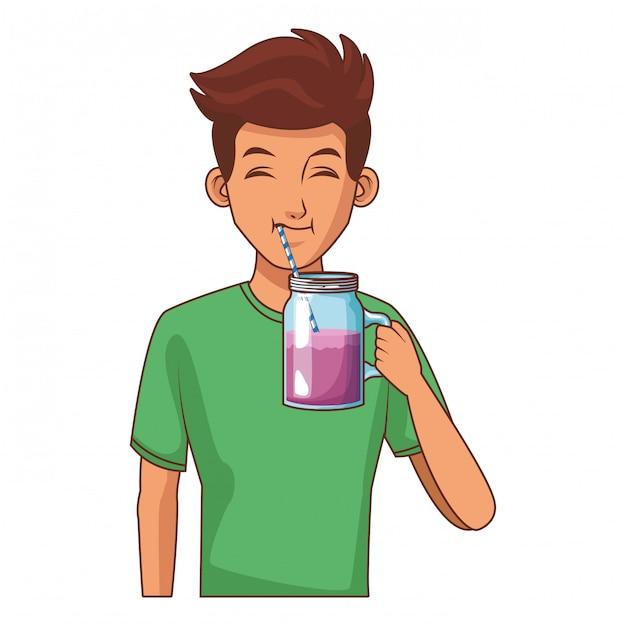 Jovem bebendo suco Vetor Premium