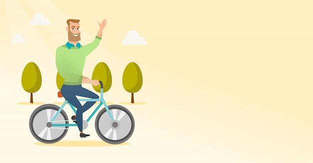 Jovem, bicicleta equitação Vetor Premium