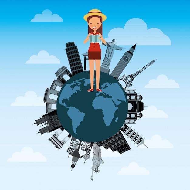 Jovem bonita com mapa turístico no mundo diferentes monumentos Vetor Premium